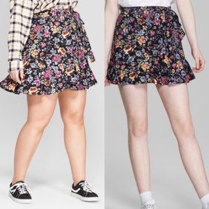 Wild Fable floral faux wrap mini skirt small